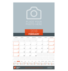 february 2018 wall monthly calendar planner for vector image vector image