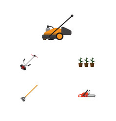 flat icon dacha set of grass-cutter hacksaw lawn vector image