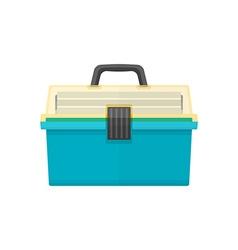 Flat style fishing tackle box vector
