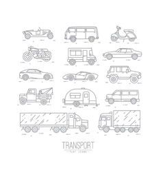 Flat transport icons vector image vector image