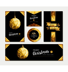 Gold christmas card template set of holiday design vector image vector image