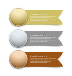 Gold silver bronze medals with ribbon banners vector