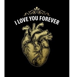 Gold Vintage heart Valentine day card Typography vector image vector image