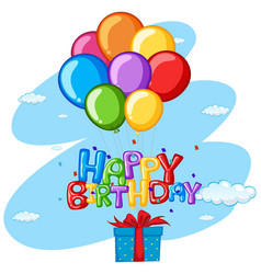 happy birthday theme with present and balloons vector image vector image