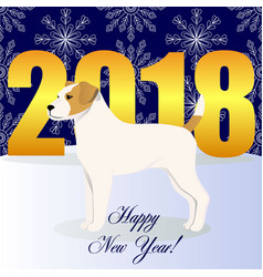 Happy new year card with parson russel terrier vector