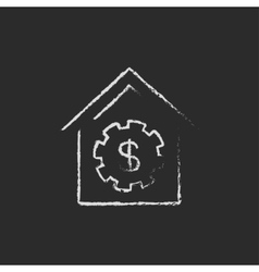 House with dollar symbol icon drawn in chalk vector image vector image