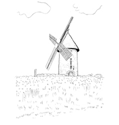 Landscape with a mill vector