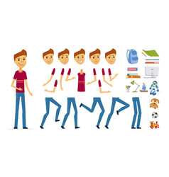 schoolboy - cartoon people character vector image