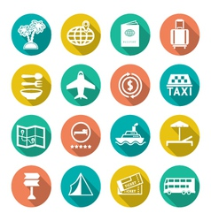 Set flat icons of travel tourism vector image