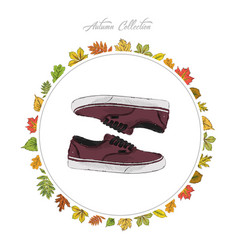 Sneakers hand draw shoes autumn collection frame vector