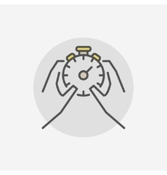 Stop stopwatch in hands icon vector