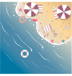 summer beach with umbrella rubber ring starfish vector image