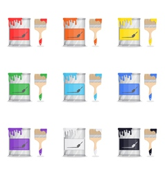 Tin Of Paint With Brush vector image vector image