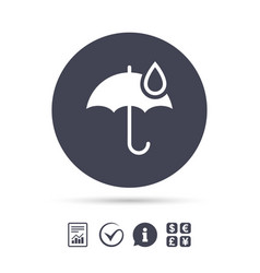 Umbrella sign icon water drop symbol vector