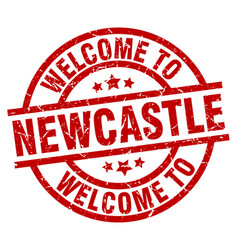 Welcome to newcastle red stamp vector