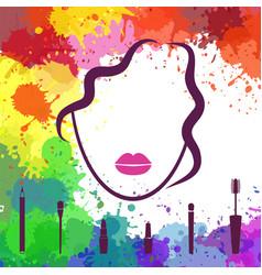 Face of beautiful girl makeup artist fashion vector
