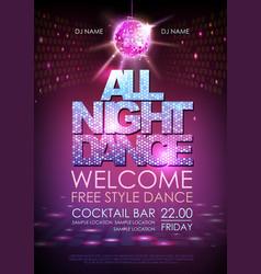 Disco ball background disco poster all night dance vector