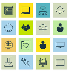 set of 16 world wide web icons includes login vector image