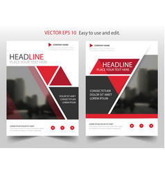 Red triangle brochure annual report leaflet vector