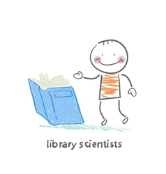 Library scientists reading a book vector