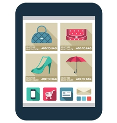 Online shop on the tablet screen vector