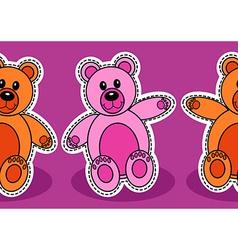 Seamless teddy bear pattern vector image
