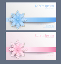 Business card with paper flower vector