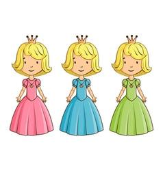 Little girl wearing princess costume vector