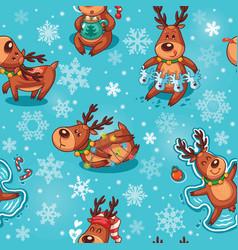 Christmas deers in cartoon seamless pattern vector image