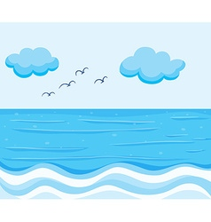 Nature scene with blue ocean vector