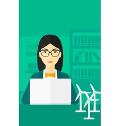 Woman working at laptop vector