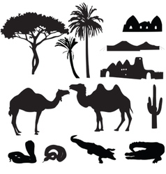 Silhouettes of african desert vector