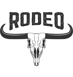 Rodeo buffalo skull isolated on white background vector
