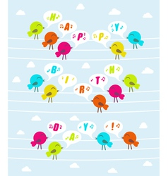 Birds with text happy birthday vector