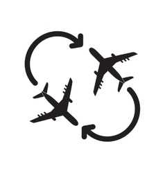 Flat icon in black and white style travel airplane vector