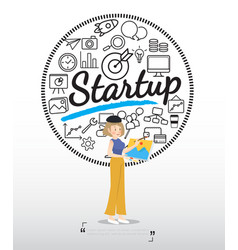Artist character with startup icons on white vector