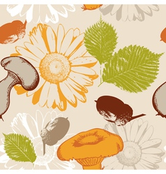 autumn seamless pattern with leaves and flowers vector image
