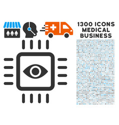 Bionic vision chip icon with 1300 medical business vector