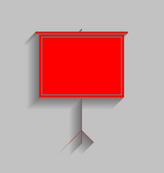 Blank projection screen red icon with vector