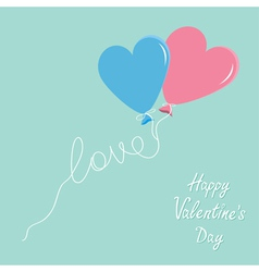 Blue and pink balloons in shape of heart vector image