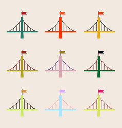 Bridges collection metal bridges with flag set vector