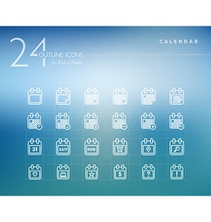 Calendar outline icons set vector