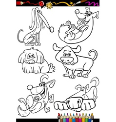 Cartoon dogs set for coloring book vector