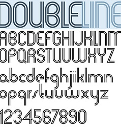 Double Line retro style geometric font light vector image vector image