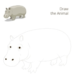 Draw the animal educational game for hippopotamus vector image