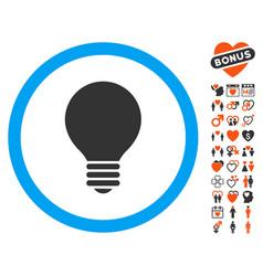Electric bulb icon with valentine bonus vector
