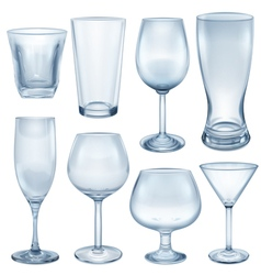 Empty glasses and stemware vector image vector image