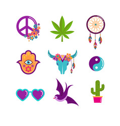Hippie bohemian design with icons set stickers vector