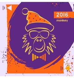Hipster christmas red fire monkey Hand drawn vector image
