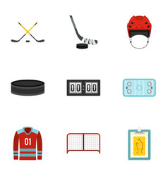 Ice hockey sport icons set flat style vector